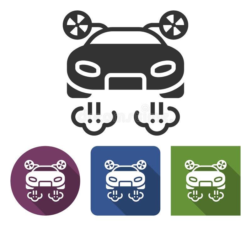 Latająca samochodowa ikona w różnych wariantach royalty ilustracja