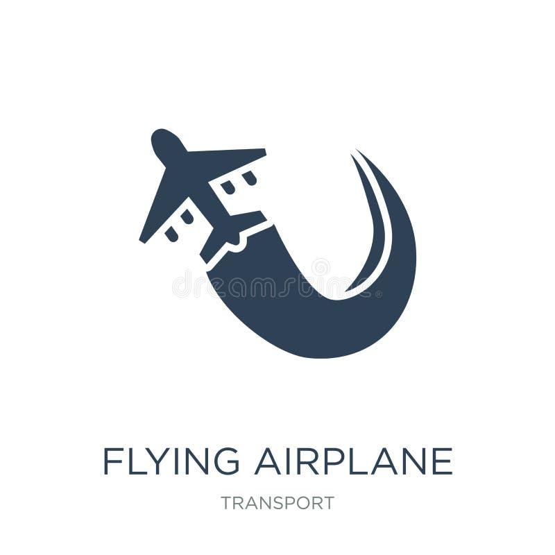 latająca samolotowa ikona w modnym projekta stylu latająca samolotowa ikona odizolowywająca na białym tle latająca samolotowa wek ilustracja wektor