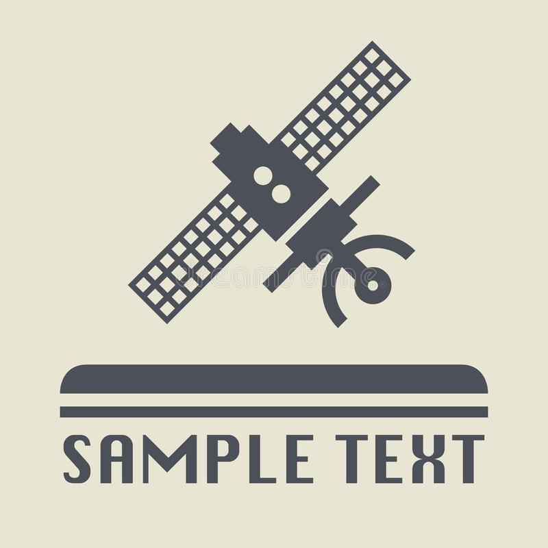 Latająca satelitarna ikona lub znak royalty ilustracja