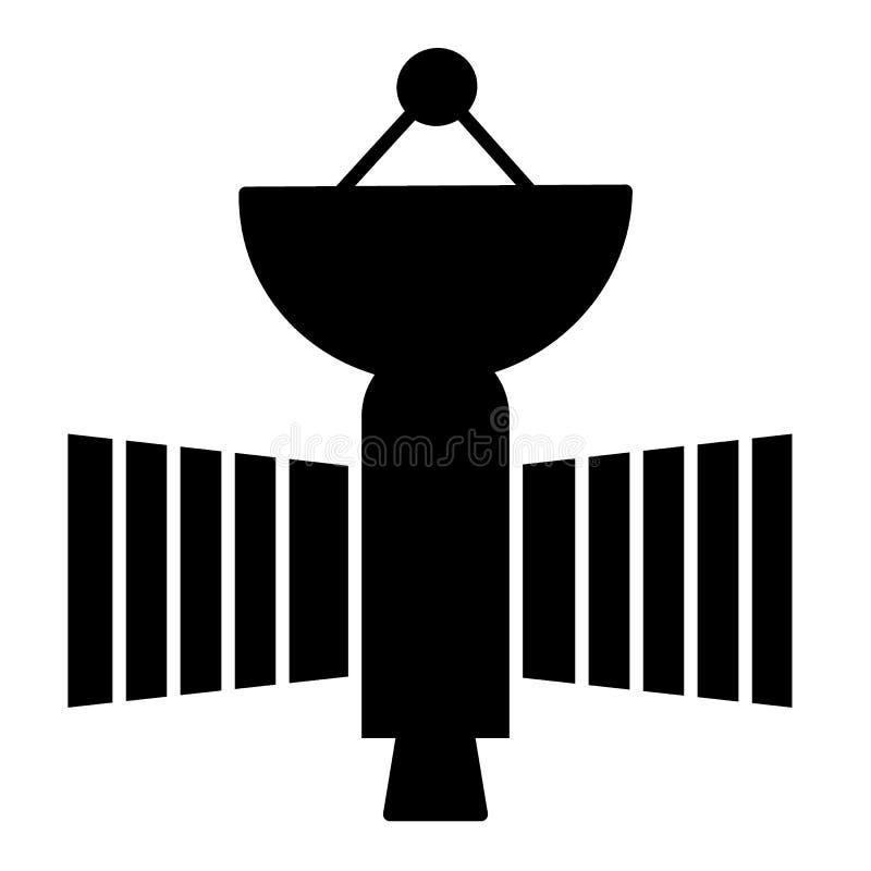 Latająca satelitarna stała ikona Astronautycznego sputnika wektorowa ilustracja odizolowywająca na bielu Astronomia glifu stylu p ilustracja wektor