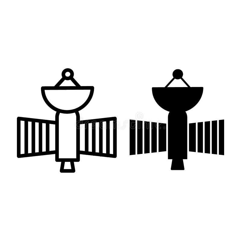 Latająca satelity linia i glif ikona Astronautycznego sputnika wektorowa ilustracja odizolowywająca na bielu Astronomia konturu s royalty ilustracja