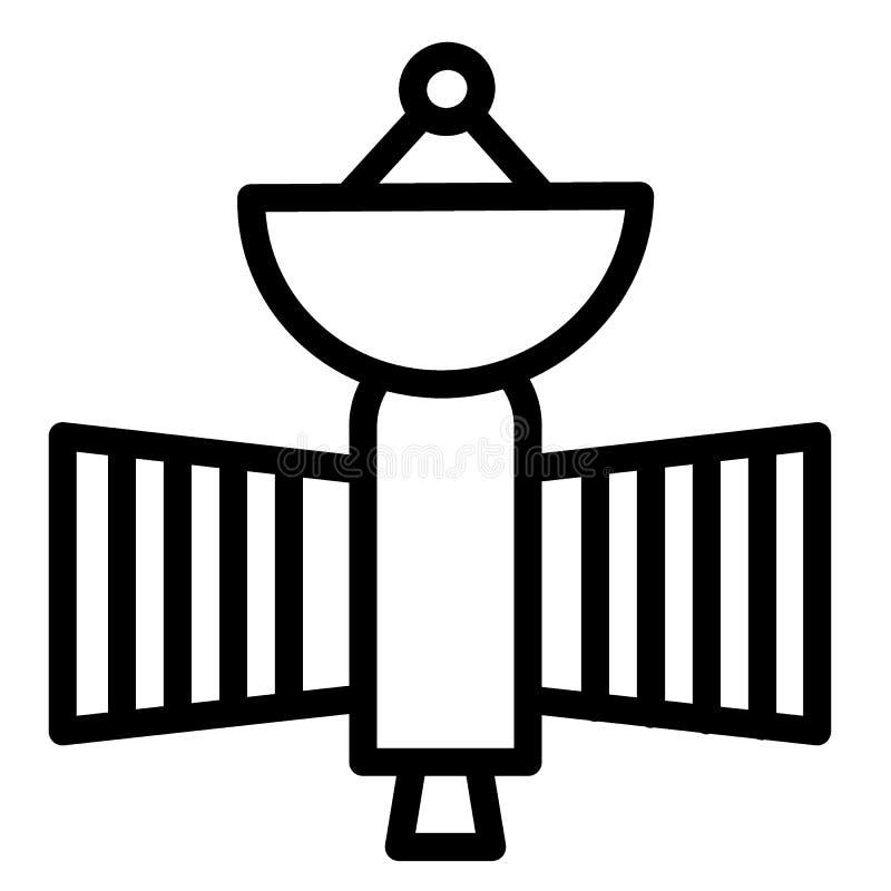 Latająca satelity linii ikona Astronautycznego sputnika wektorowa ilustracja odizolowywająca na bielu Astronomia konturu stylu pr ilustracja wektor