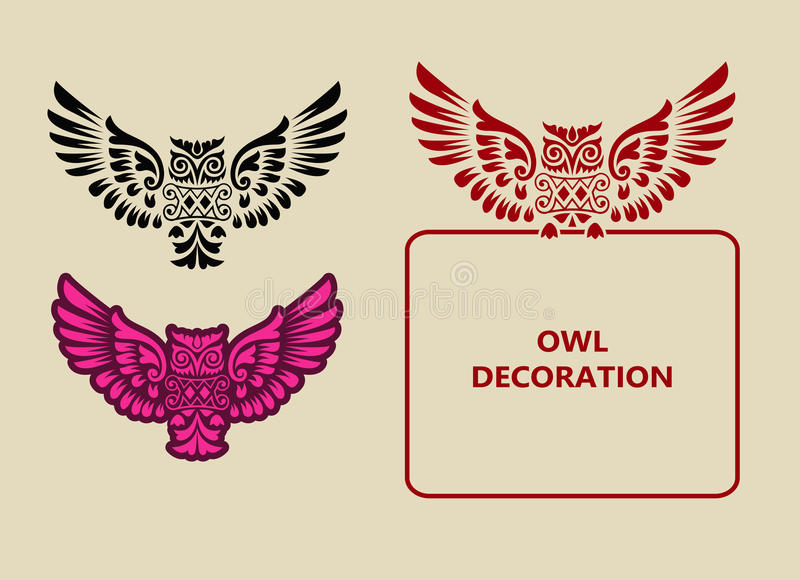 Latająca sowa ornamentu dekoracja ilustracji