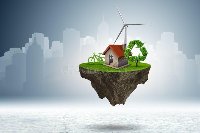 Latająca spławowa wyspa w zielonym energetycznym pojęciu - 3d rendering ilustracja wektor