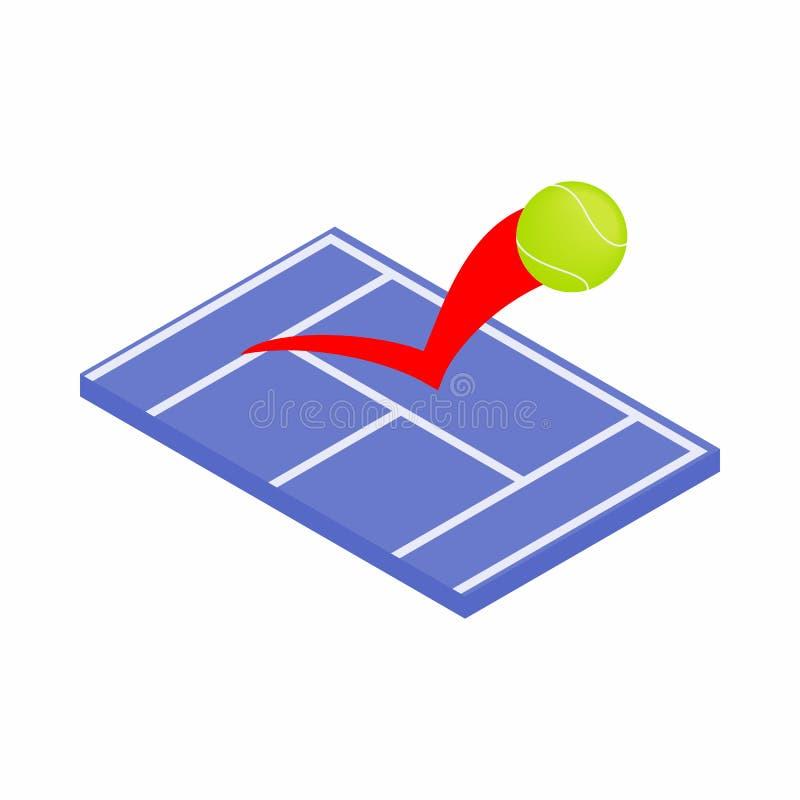 Latająca tenisowa piłka na błękitnej dworskiej ikonie ilustracja wektor