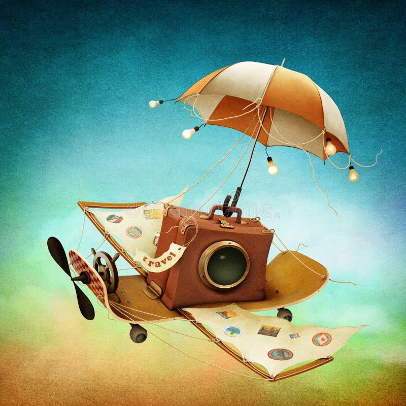 Latająca walizka ilustracja wektor