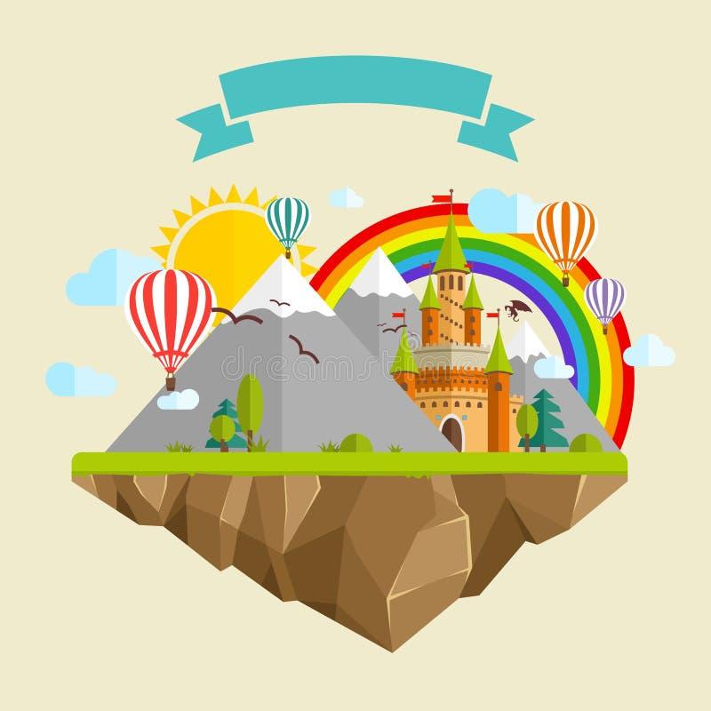 Latająca wyspa z kasztelem, balonami, górami, chmurami, drzewami, słońcem, tęczą, smokiem i faborkiem bajki, royalty ilustracja