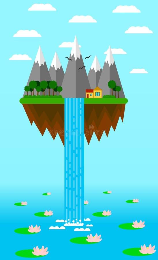 Latająca wyspa z siklawą i jezioro z Wodnymi lelujami ilustracji