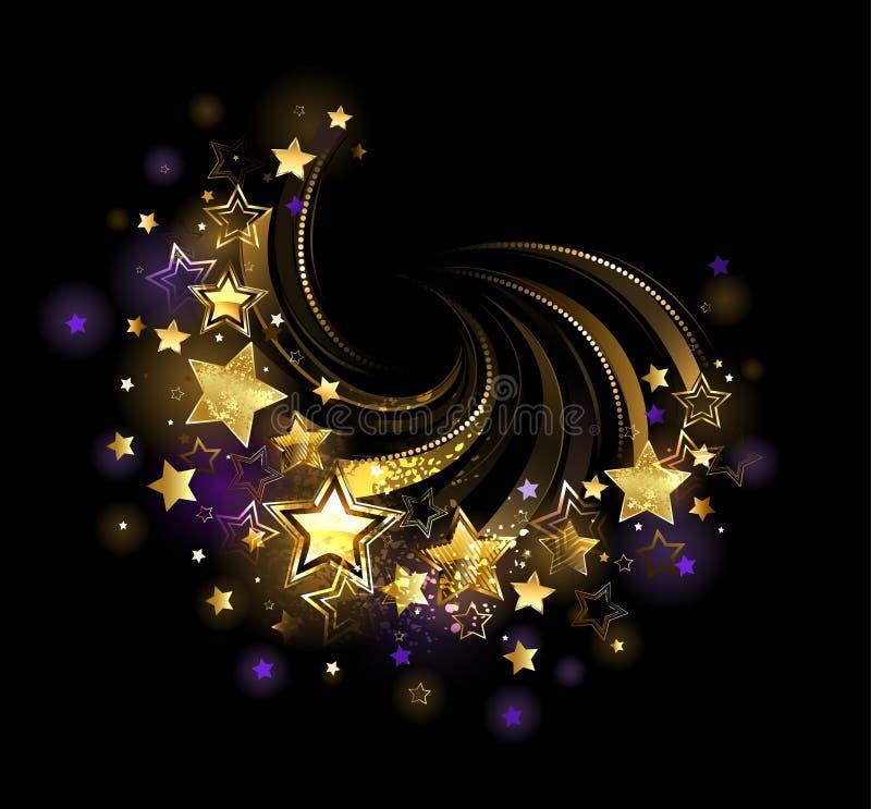 Latająca złoto gwiazda ilustracji