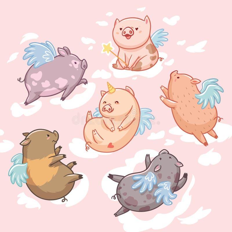 Latające świnie w chmurach postać z kreskówki dzieci kolorowa graficzna ilustracja Sześć mini świni odizolowywających na różowym  royalty ilustracja