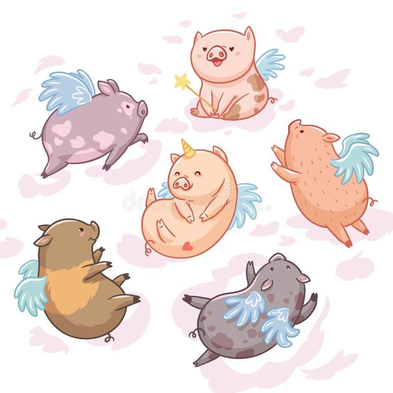 Latające świnie w chmurach postać z kreskówki dzieci kolorowa graficzna ilustracja Sześć minych świni odizolowywających na białym royalty ilustracja