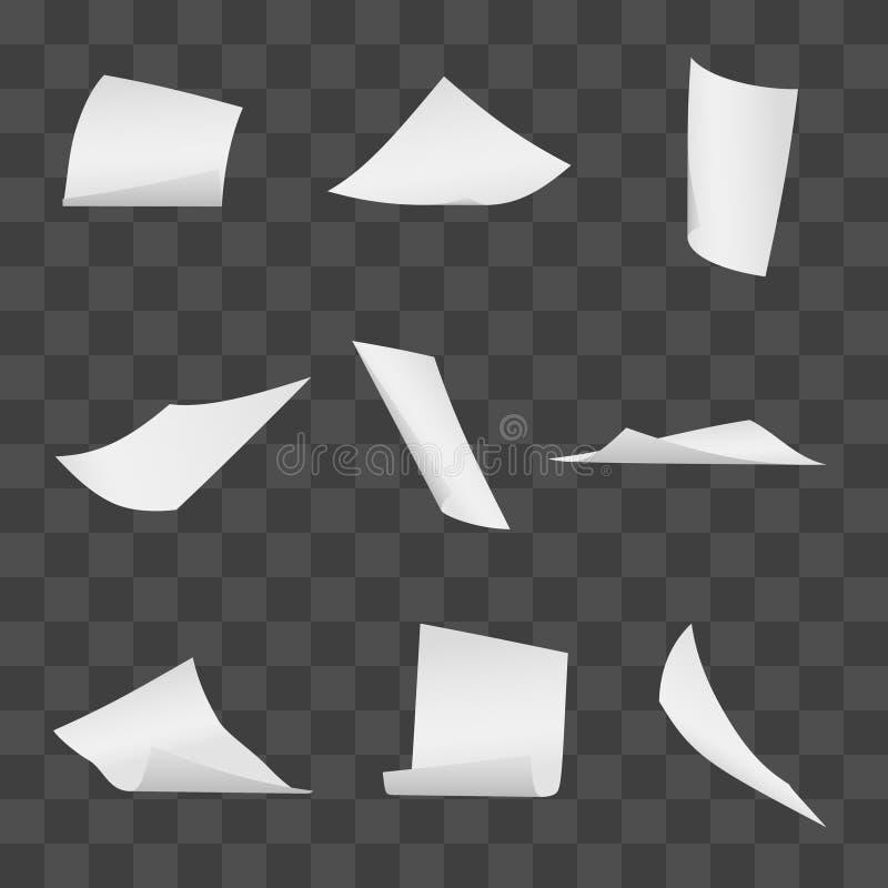 Latające biurowe białego papieru strony na przejrzystym tle royalty ilustracja