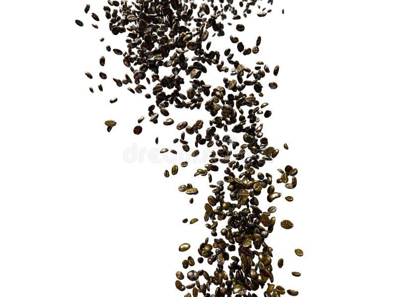 Latające kawowe fasole z dof i minimalną ruch plamą ilustracji