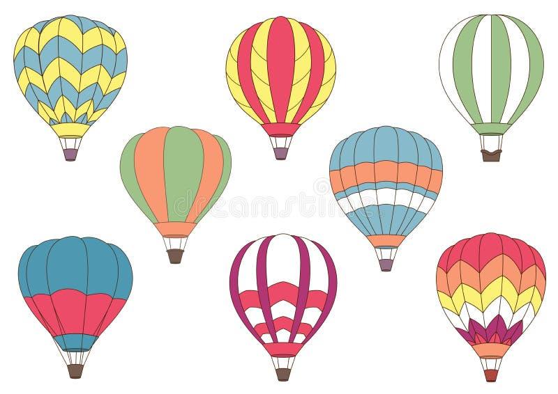 Latające kolorowe gorące powietrze balonu ikony ilustracji