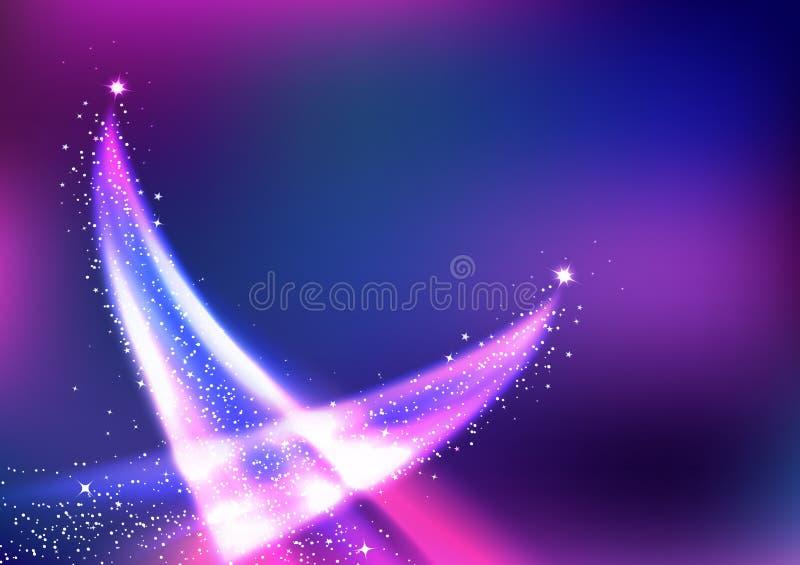 Latające magiczne komety, fantazji gwiazdy z krzywą gładzą kreskowego rozjarzonego ogonu tła wektoru abstrakcjonistyczną ilustrac royalty ilustracja