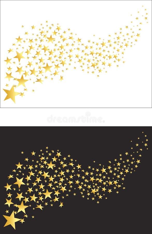 Latające złote gwiazdy wektor ilustracja wektor