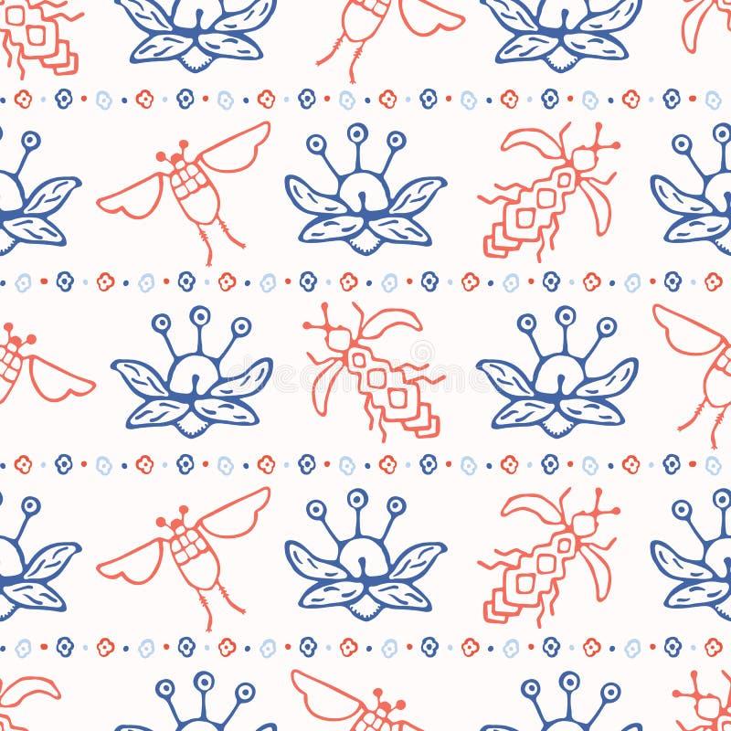 Latającego insekta pluskw wektoru Bezszwowy wzór Scandi lud Kwitnie z pszczołą i ścigą ilustracja wektor