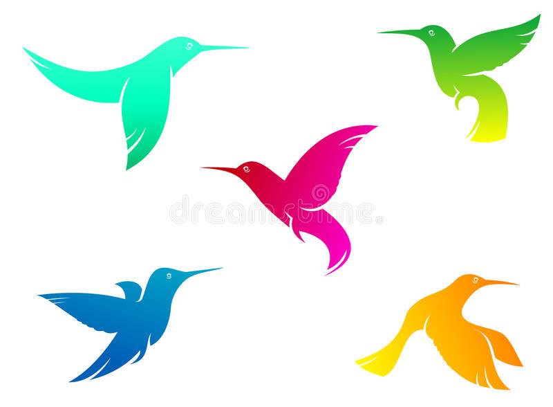 Latającego koloru hummingbirds ilustracja wektor