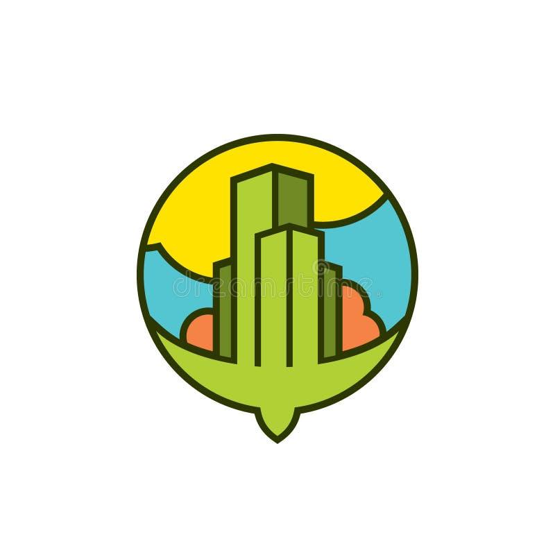 Latającego ptaka i miasta znak ilustracji