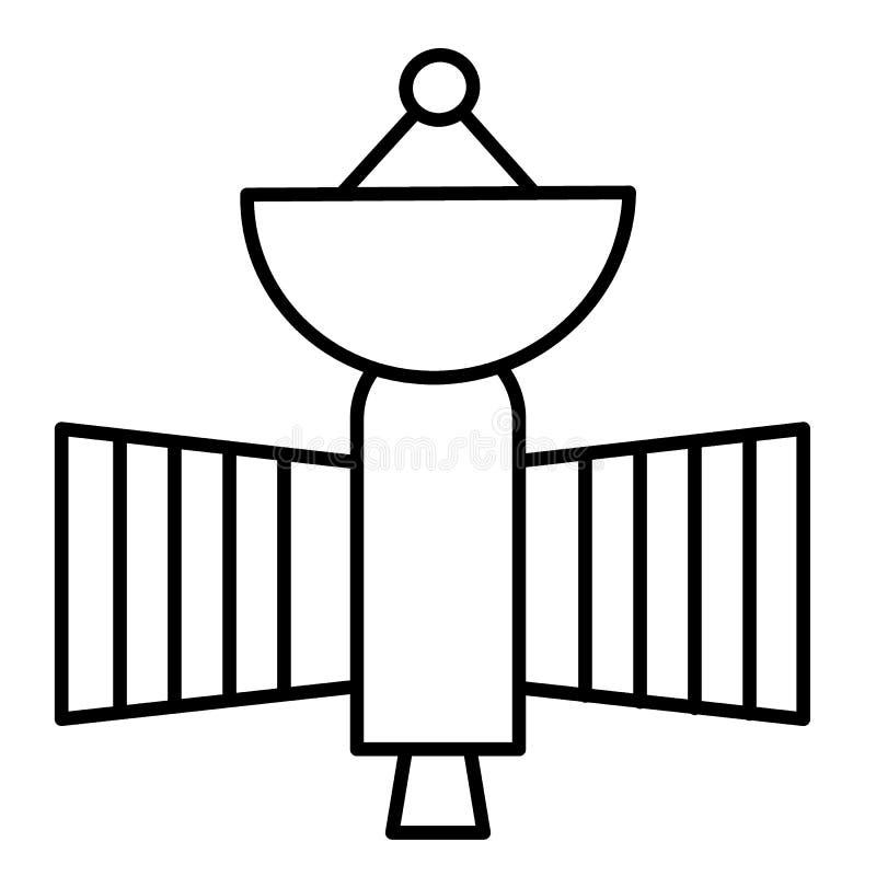Latającej satelity cienka kreskowa ikona Astronautycznego sputnika wektorowa ilustracja odizolowywająca na bielu Astronomia kontu royalty ilustracja