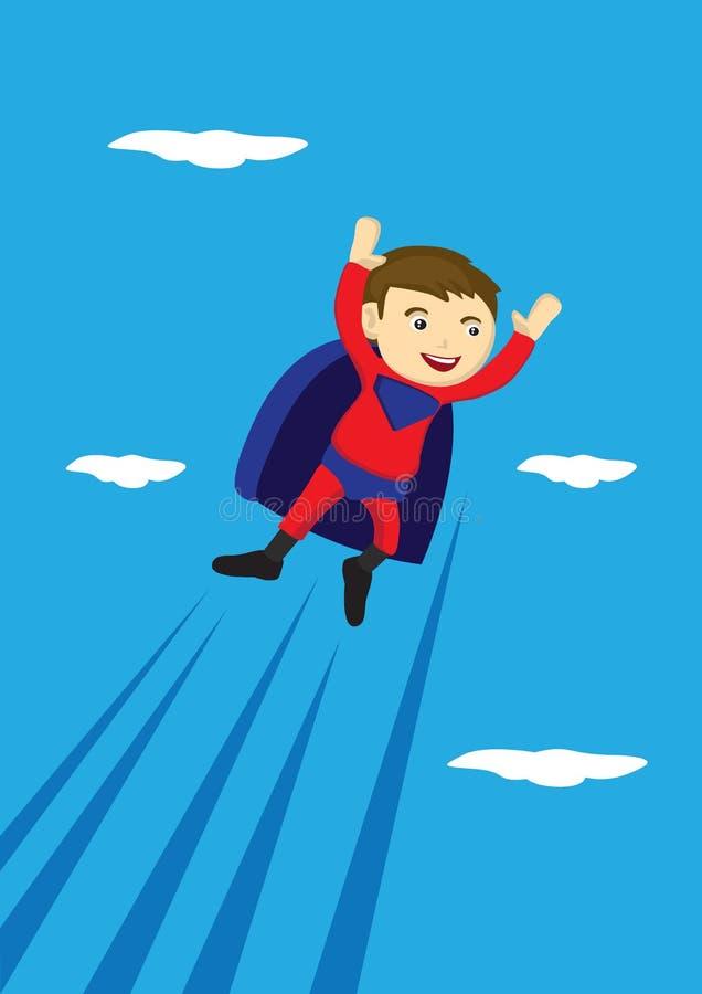 Latającej Super chłopiec kreskówki Wektorowa ilustracja ilustracja wektor