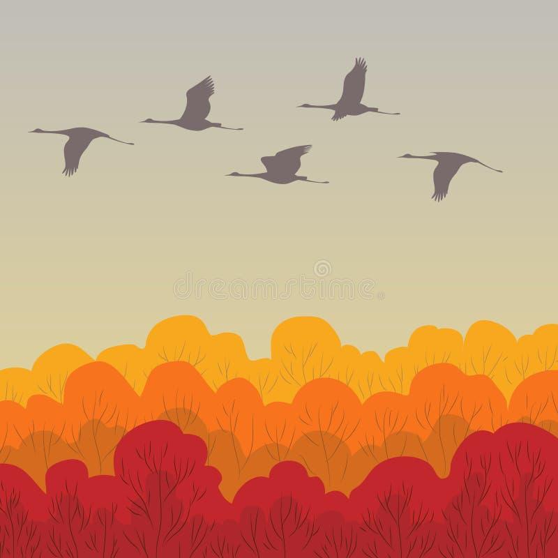 Latający żurawie ilustracji