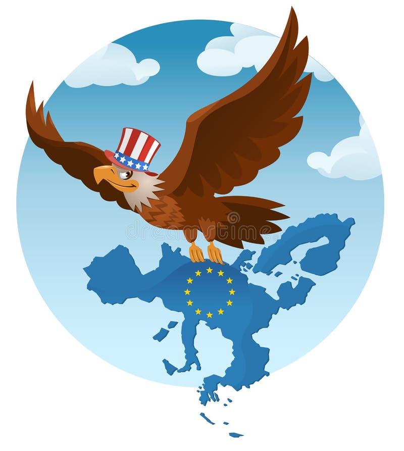 Latający Amerykański orzeł trzyma Europejskiego zjednoczenie przeciw b ilustracja wektor