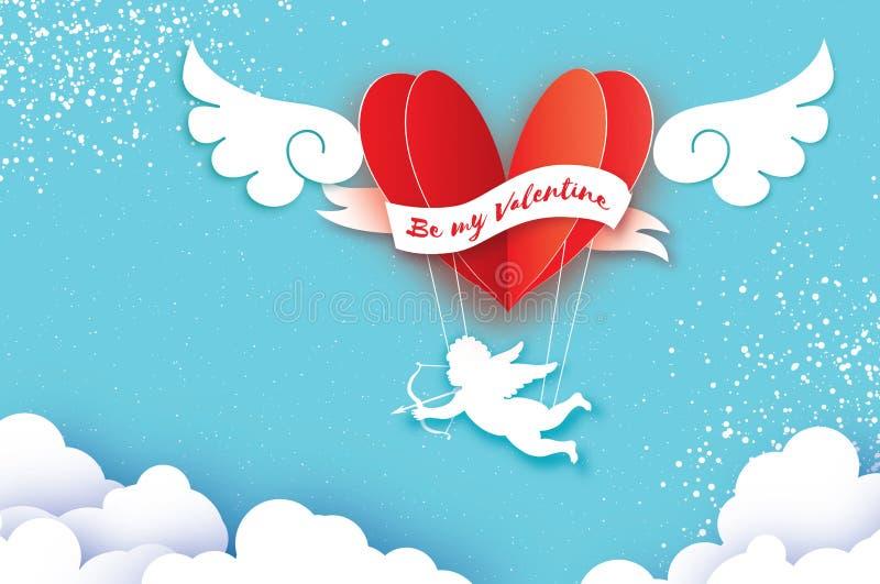 Latający amorek - mały anioł Miłości Różowy serce w papieru cięcia stylu Origami chłopiec - aniołeczek Gorący lotniczego balonu l ilustracji