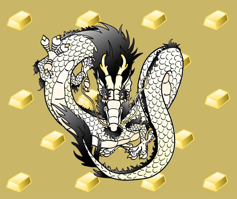 Latający biały Chiński smok na złocie ilustracja wektor