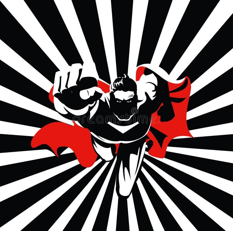 Latający bohater na kamerze Czarny i biały grafika ilustracji