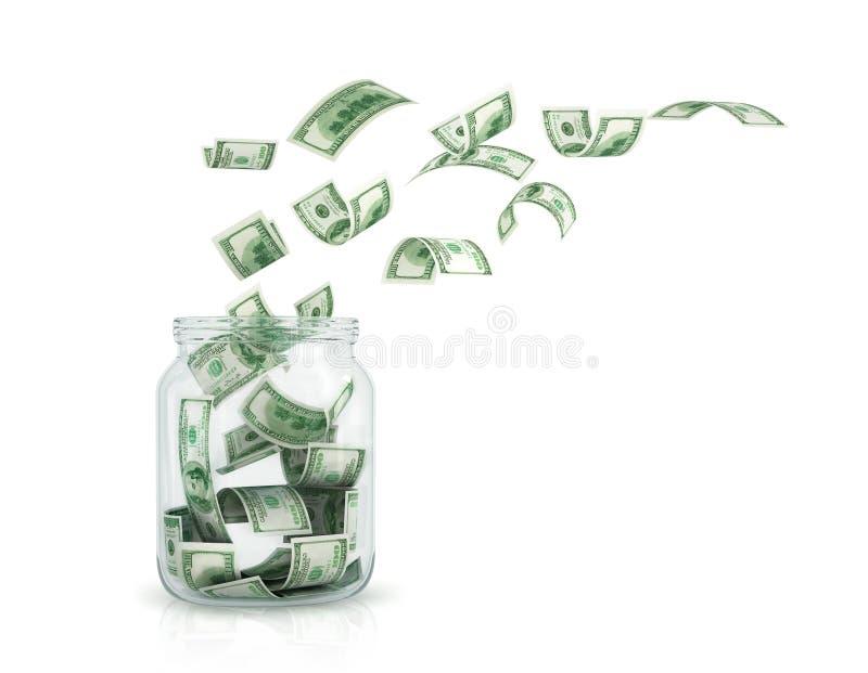 Latający dolarowi rachunki w szklanym garnku ilustracji