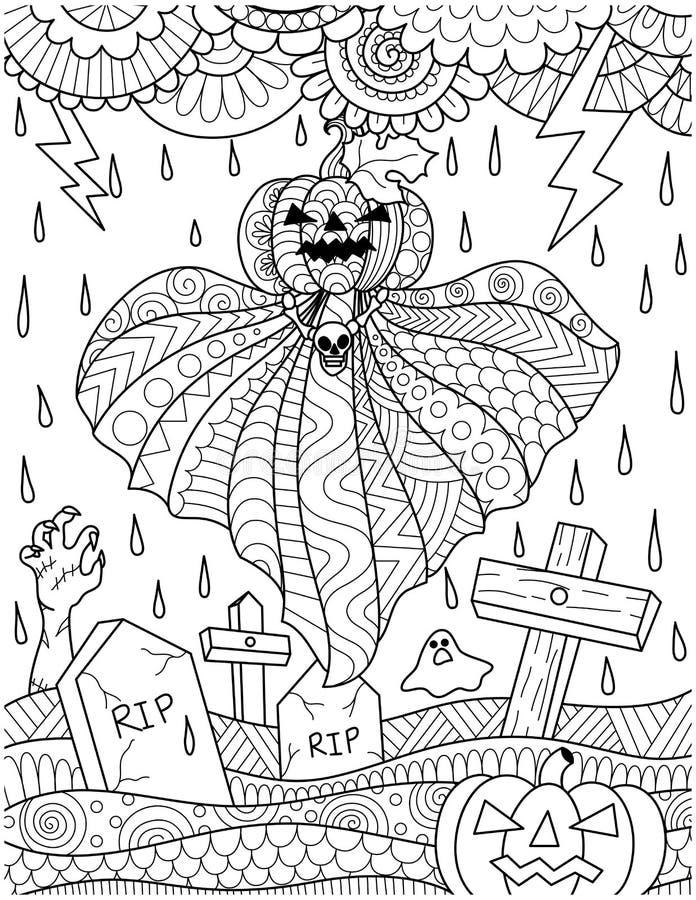 Latający dyniowy duch nad cmentarz z grzmot burzy deszczem dla karty, plakata i dorosłego kolorystyki książki strony, również zwr ilustracji