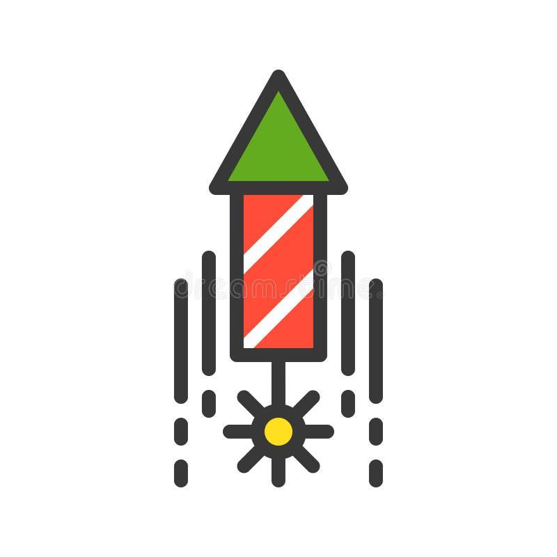 Latający fajerwerk, Wesoło boże narodzenia odnosić sie ikona set, wypełniający outlin royalty ilustracja
