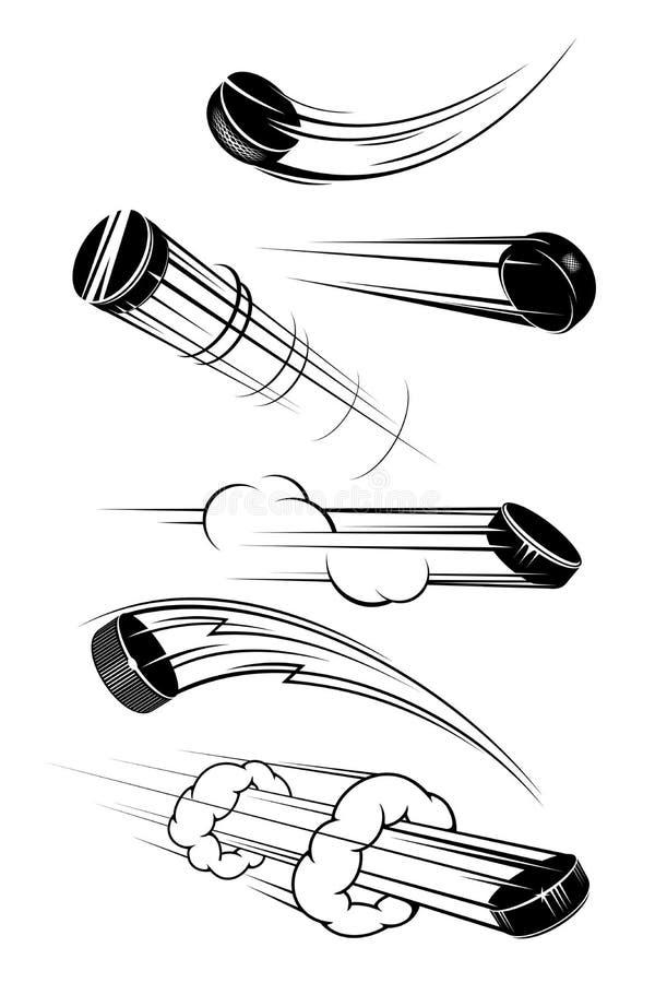 Latający hokejowi krążki hokojowi royalty ilustracja