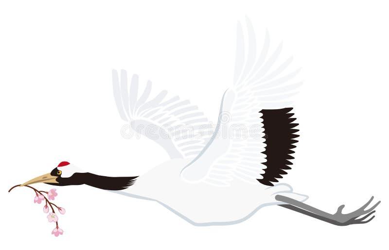 Latający Japoński żuraw, Odizolowywający ilustracja wektor
