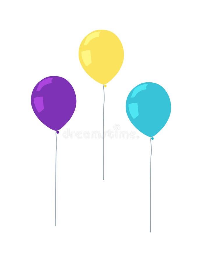 Latający Lotniczy balony Purpurowy Żółty koloru wektor royalty ilustracja