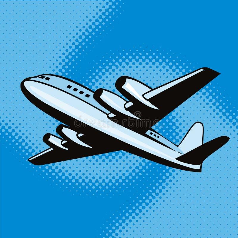 latający napowietrznej samolot ilustracja wektor