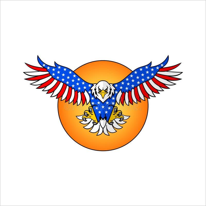 Latający orł i wektor słoneczny ilustracja wektor