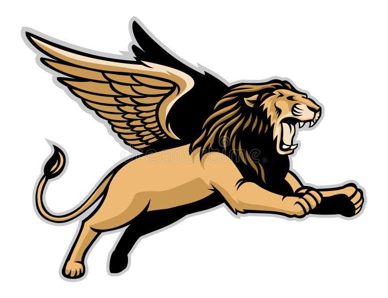 Latający oskrzydlony lew ilustracja wektor