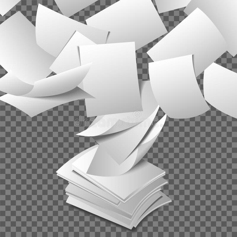Latający papierów prześcieradła royalty ilustracja