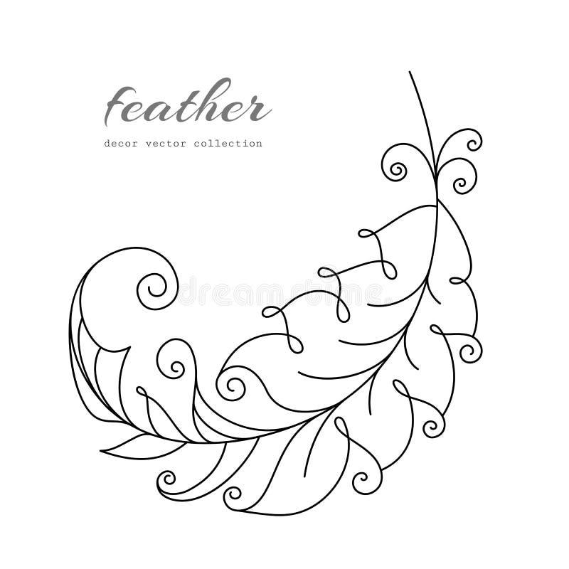 Latający piórko na bielu ilustracja wektor