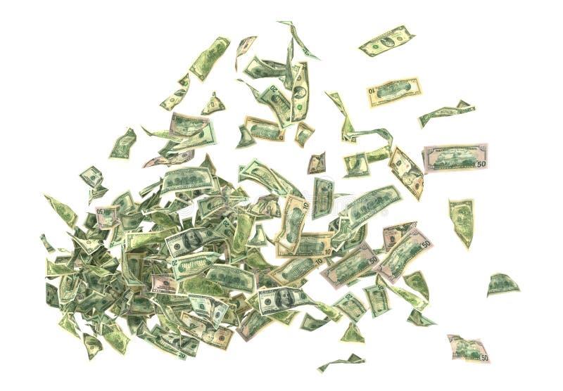 Latający pieniądze Pieniądze różny wartości latanie od royalty ilustracja