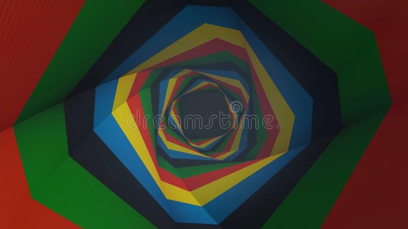 Latający przez geometrycznego hipnotycznego tunelu z czernią, brąz, pomarańcze lampasy, bezszwowa pętla animacja Piękny wirować ilustracji