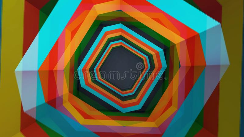 Latający przez geometrycznego hipnotycznego tunelu z czernią, brąz, pomarańcze lampasy, bezszwowa pętla animacja Piękny wirować royalty ilustracja