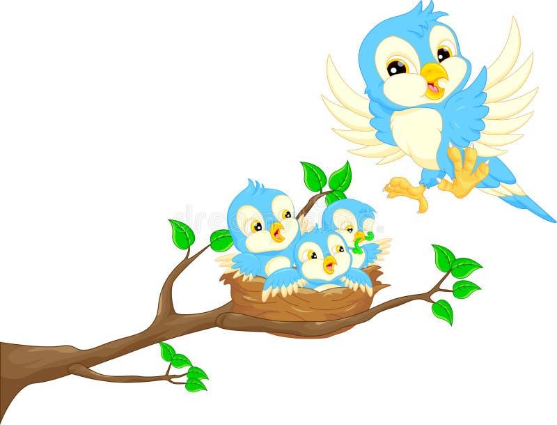 Latający ptak i dziecko ptak w gniazdeczku ilustracji