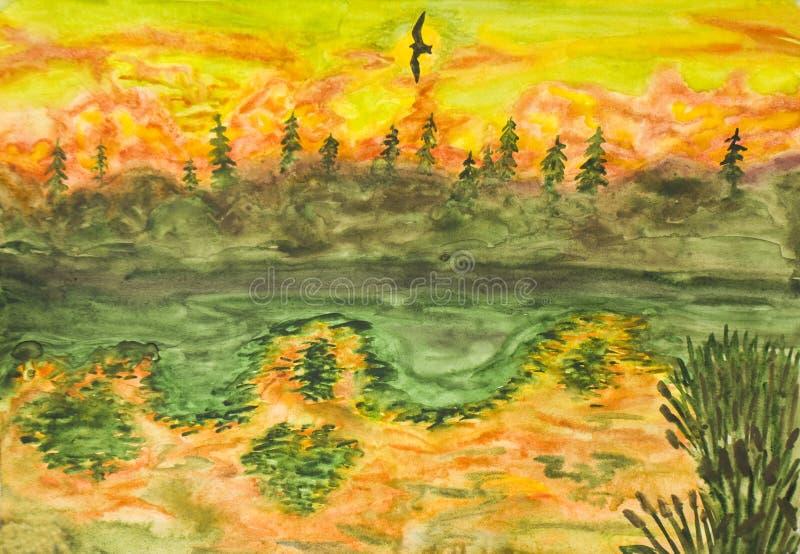 Latający ptak na zmierzchu, obraz ilustracja wektor