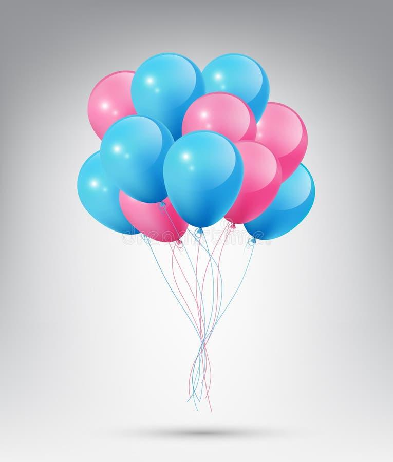 Latający Realistyczni Glansowani Błękitni, Różowi balony z pojęciem na białym tle i royalty ilustracja