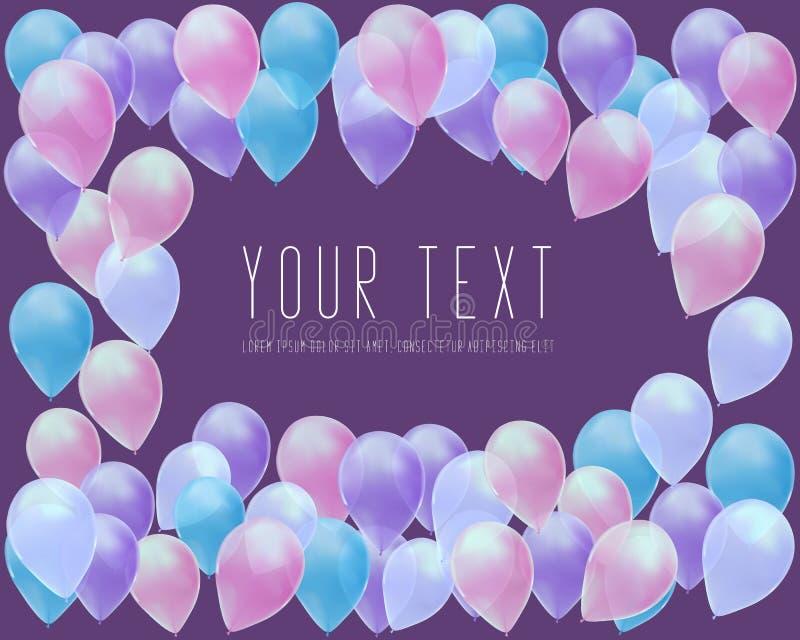 Latający Realistyczni Glansowani balony świętują pojęcie na purpurowym tle sztandaru szablon, kartka z pozdrowieniami ilustracji