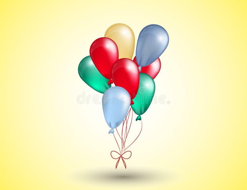 Latający Realistyczni Glansowani Kolorowi balony dla twój przyjęcia i świętowania zaproszenia ilustracja wektor