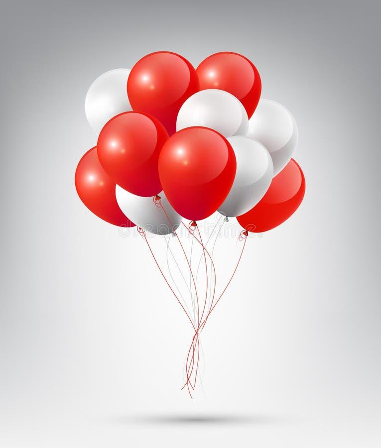 Latający Realistyczny Glansowany Czerwony biel Szybko się zwiększać z przyjęcia i świętowania pojęciem na białym tle ilustracji